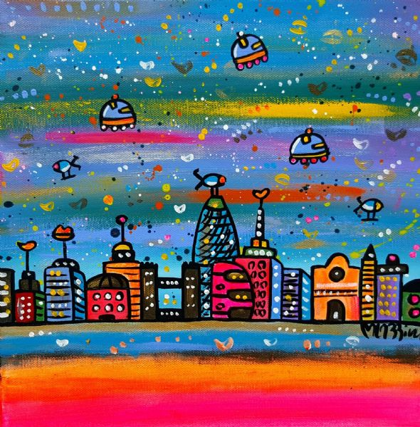 New Bright City, original acrylics